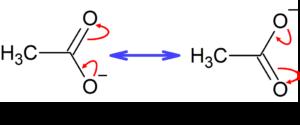 酢酸イオンの共鳴
