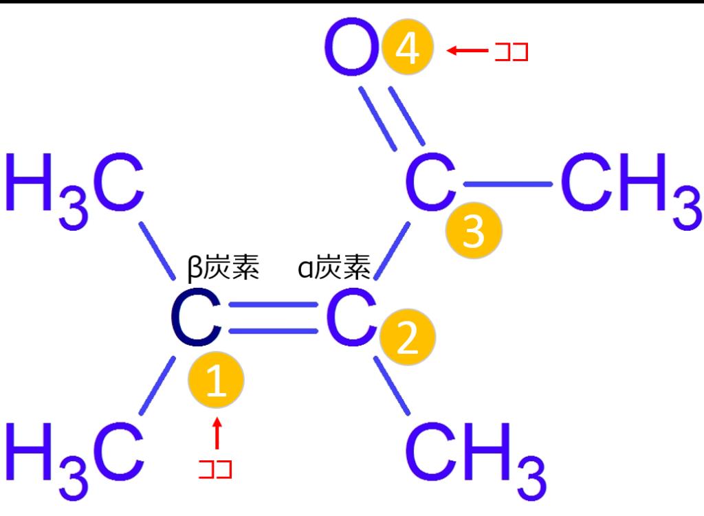 αβ不飽和カルボニル(1,4位の位置など)