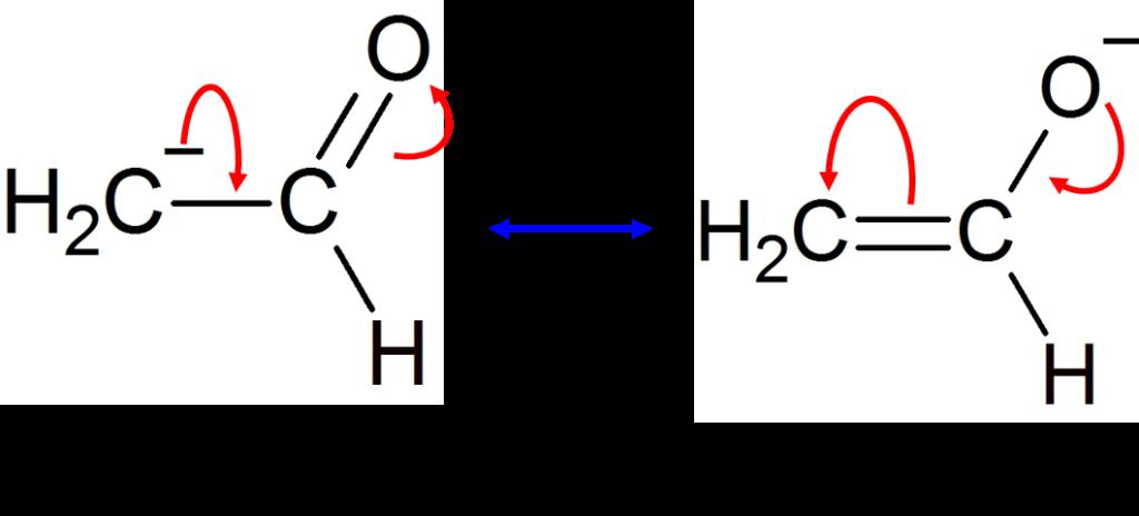 アセトアルデヒドの共鳴構造式